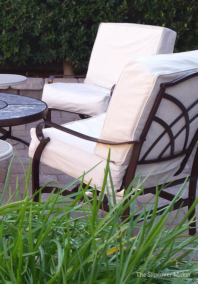 Natural Duck Slipcovers For The Patio, Wicker Chair Cushion Slipcovers