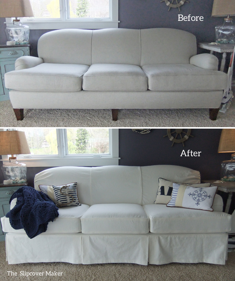 White Denim Slipcover For Art Van