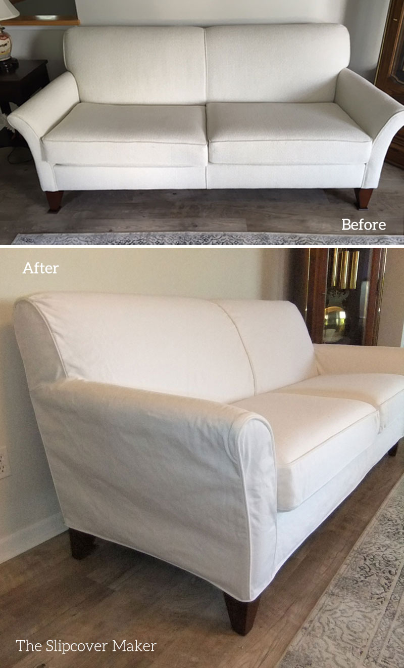 Custom White Denim Slipcover The